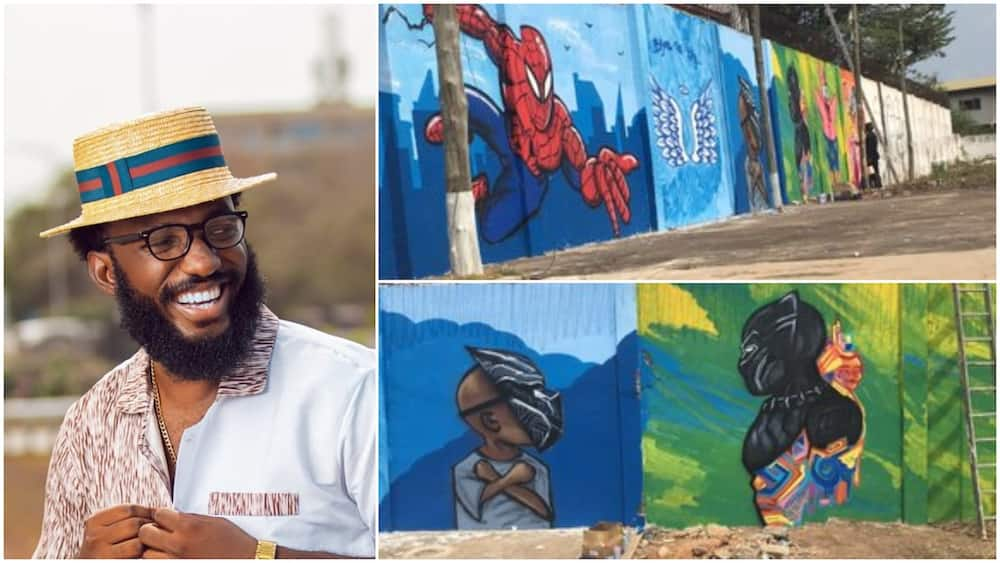 Man makes fine arts on wall, showcases his skill, people praise him