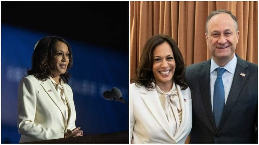 Kamala's introduction of her husband was considered as a very lovely gesture. Photo source: Getty Images/Sarah Silbiger, Twitter/@KamalaHarris