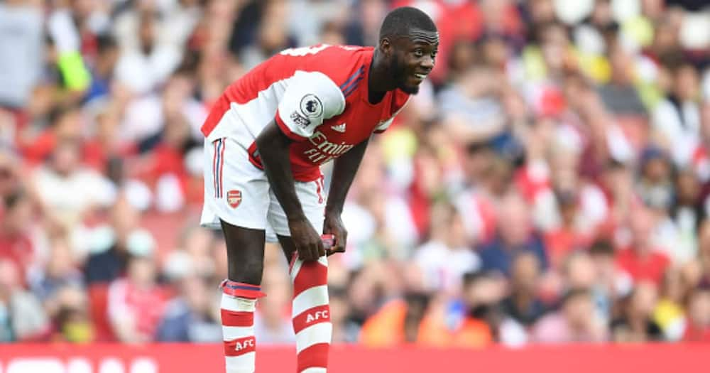 Nicolas Pepe of Arsenal during the Premier League match between Arsenal and Norwich City at Emirates Stadium on September 11, 2021 in London, England. (Photo by Stuart MacFarlane/Arsenal FC via Getty Images)