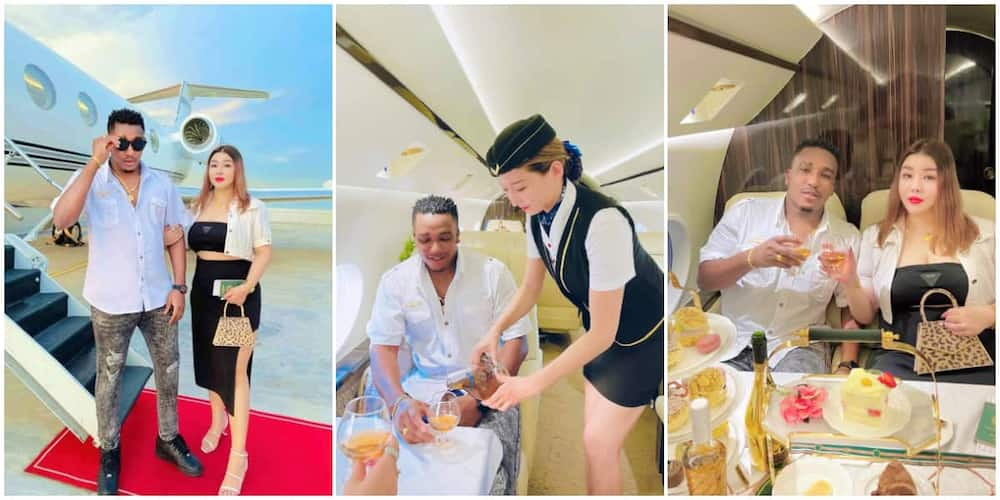 Adorable Photos of a Nigerian Man and His Young Pretty Oyinbo Wife as They Alighted a Flight Cause Huge Stir
