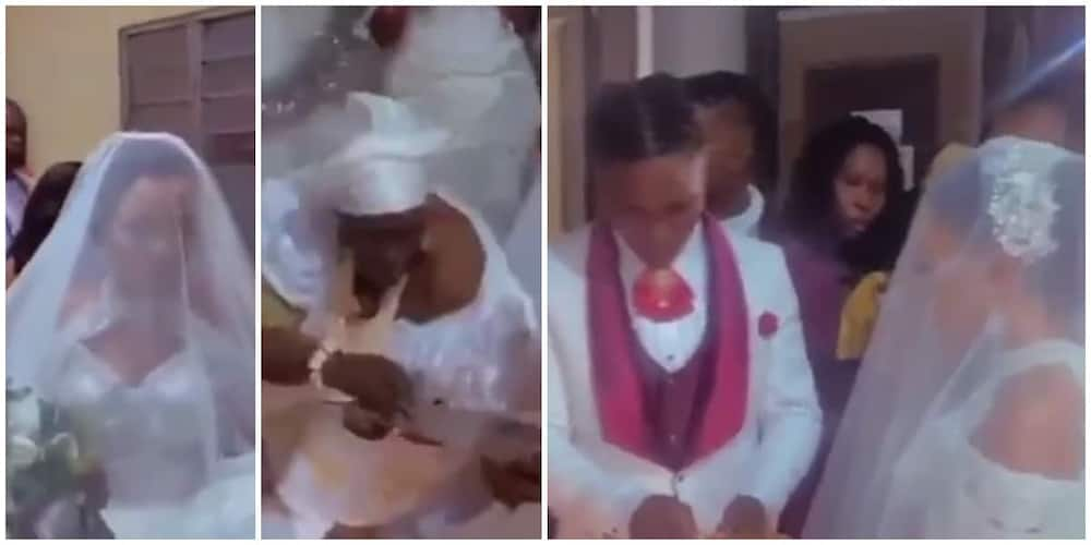 Nigerians React to Trending Video of Couple Who Wedded inside Shrine of Bride's Mother in Delta