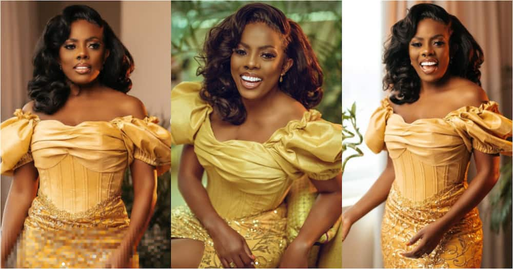 Nana Aba Anamoah beams in gold-themed dress as she delivers stunning photos to mark her birthday