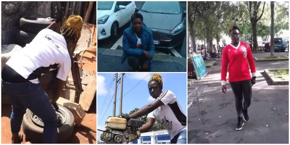 Massive reactions as lady quits stay in Europe, now a vulcanizer in Edo state