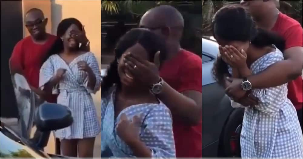 Money swine: Pretty lady cries uncontrollably as her man presents her with luxurious car gift (Video)