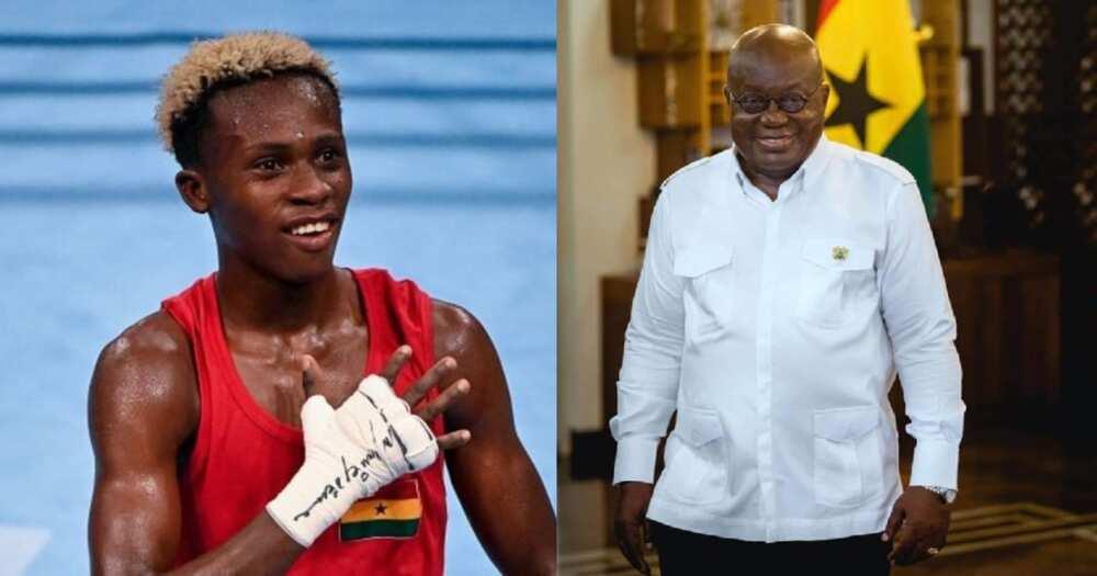 Ghana President Akufo Addo congratulates Bronze medalist Samuel Takyi
