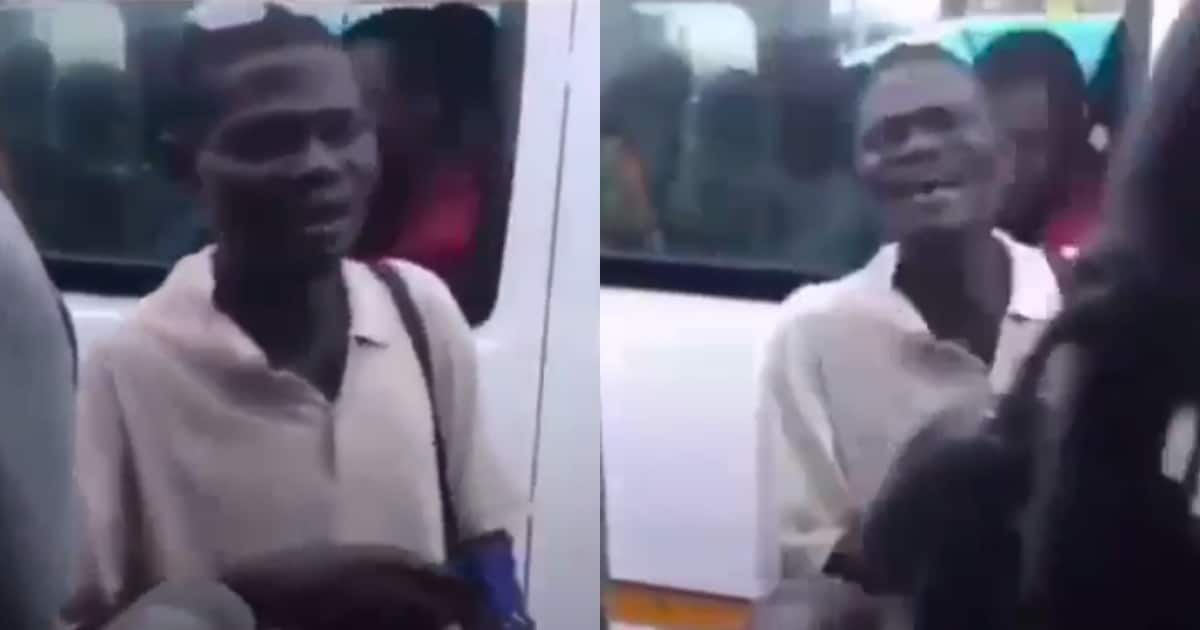 Drama as trotro preacher 'forces' all passengers to pay money to him in video