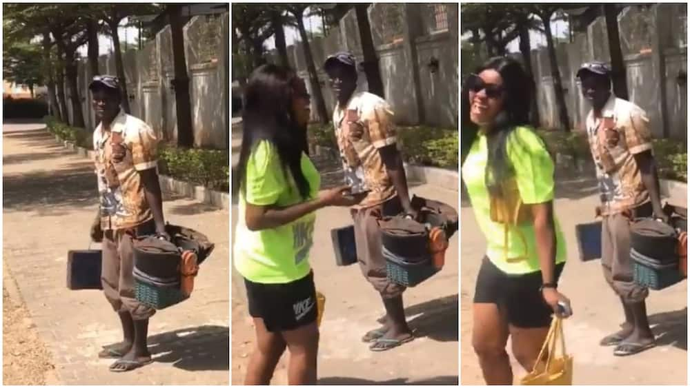 Shoemaker in Abuja entertain lady with sweet beats made with box, video stirs reactions