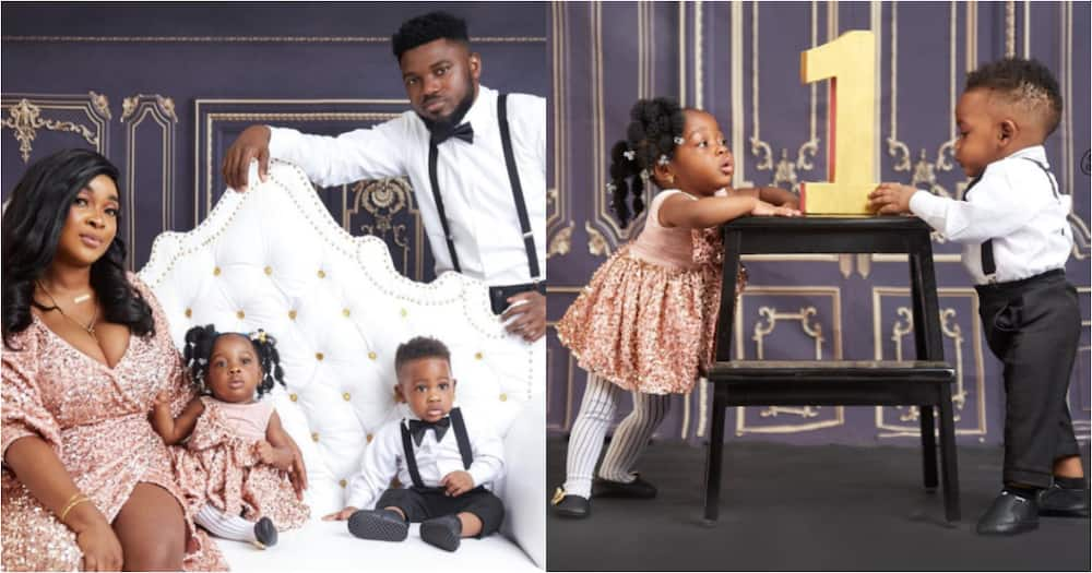 Rapper Donzy and wife drop beautiful family photos to mark one-year b'day of twins