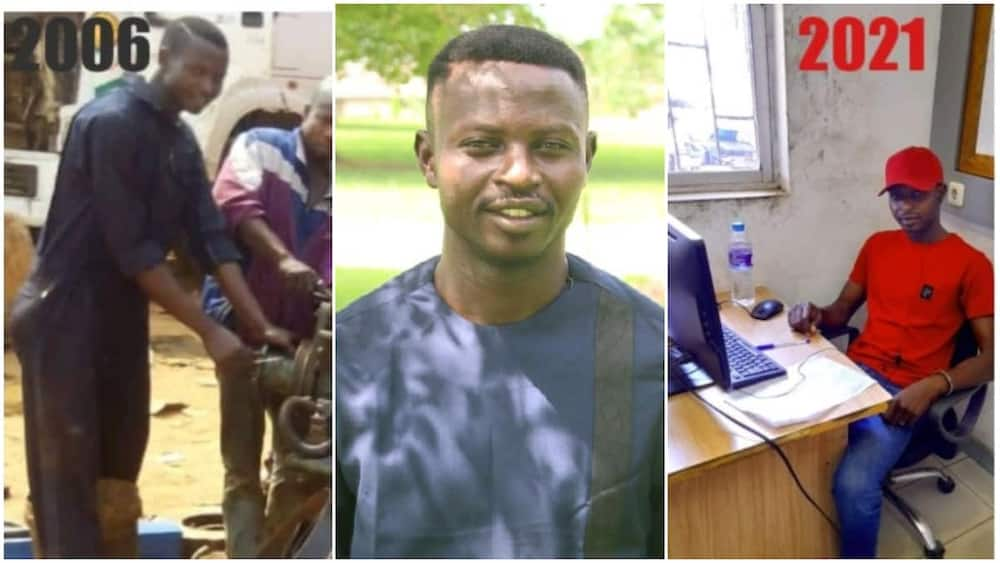 Nigerian man who was a mechanic in 2016 now has his office in 2021