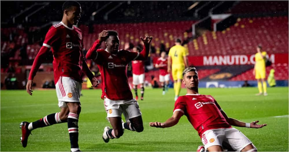 Andreas Pereira of Man United celebrates scoring a goal to make the score 2-1 during the pre-season friendly match against Brentford at Old Trafford on July 28, 2021. (Photo by Ash Donelon/Manchester United via Getty Images)