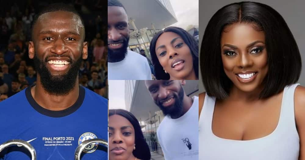 Nana Aba Anamoah Hangs Out With Chelsea Star Antonio Rudiger In Accra; Fun Video Drops