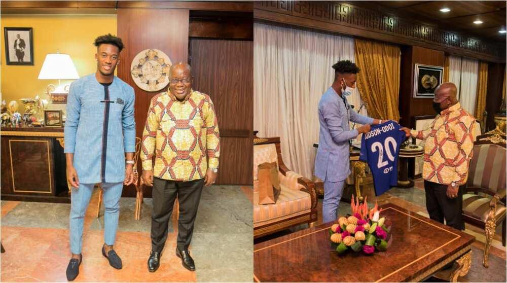 Callum Hudson Odoi: Chelsea Star Visits Akufo-Addo; Gifts Him Signed Jersey (Photos)