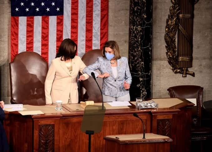 Nancy Pelosi, Kamala Harris Become First two Women To Stand With President During Address To Congress