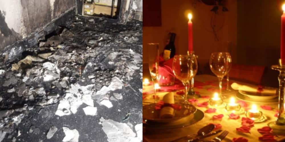 PHOTOS: Man burns down his apartment as he proposes to his girlfriend with hundreds of candles