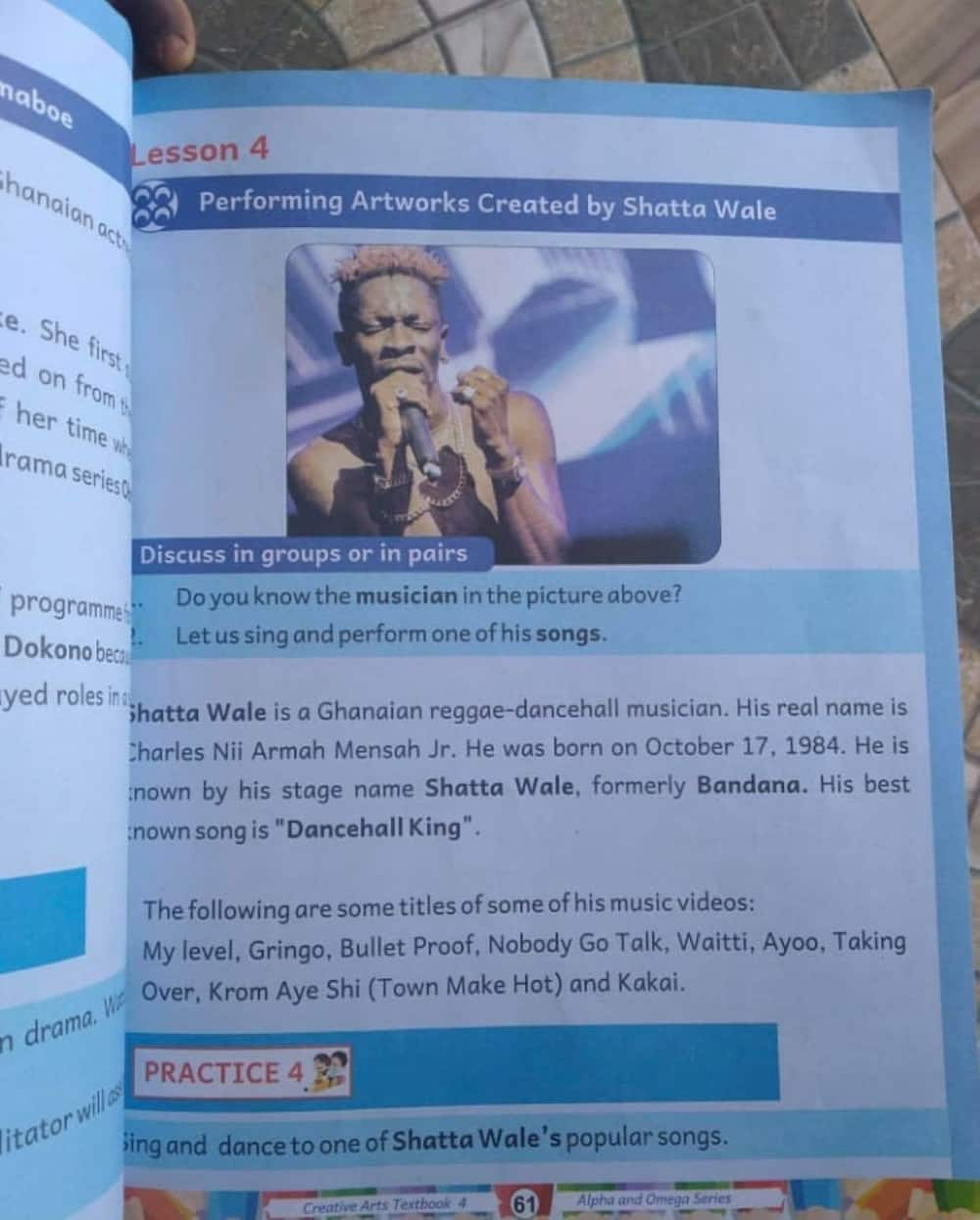 Shatta Wale featured in GES approved Creative Arts textbook