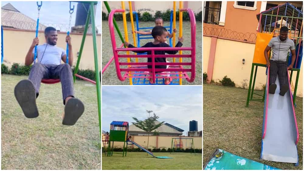 Caring Wife 'Buys' Playground Equipment for Her Kids, Husband Enjoys It in Viral Video, Says He's Also a Baby