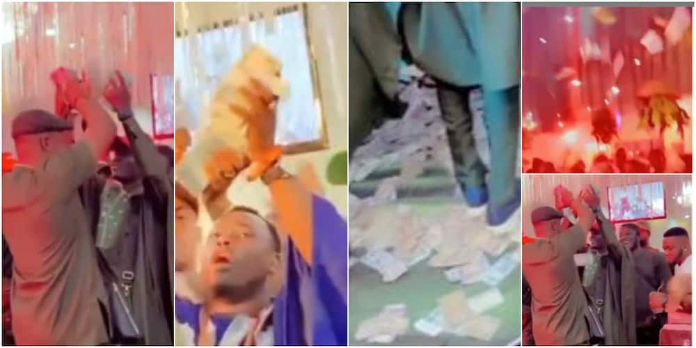 Money rains heavily at a wedding ceremony in Benin as big boys turn party to giveaway arena