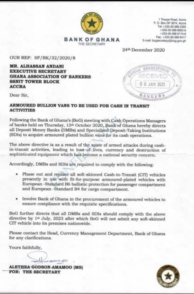 Bank of Ghana directive to banks following Bullion van robbery
