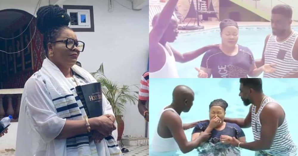 Nana Agradaa: Repented Fetish Priestess Baptised In Her Swimming Pool; Video Drops