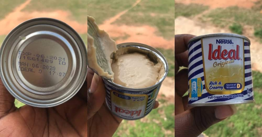 Ghanaian man buys sealed ideal milk only to open it & find tom brown inside; Nestlé reacts