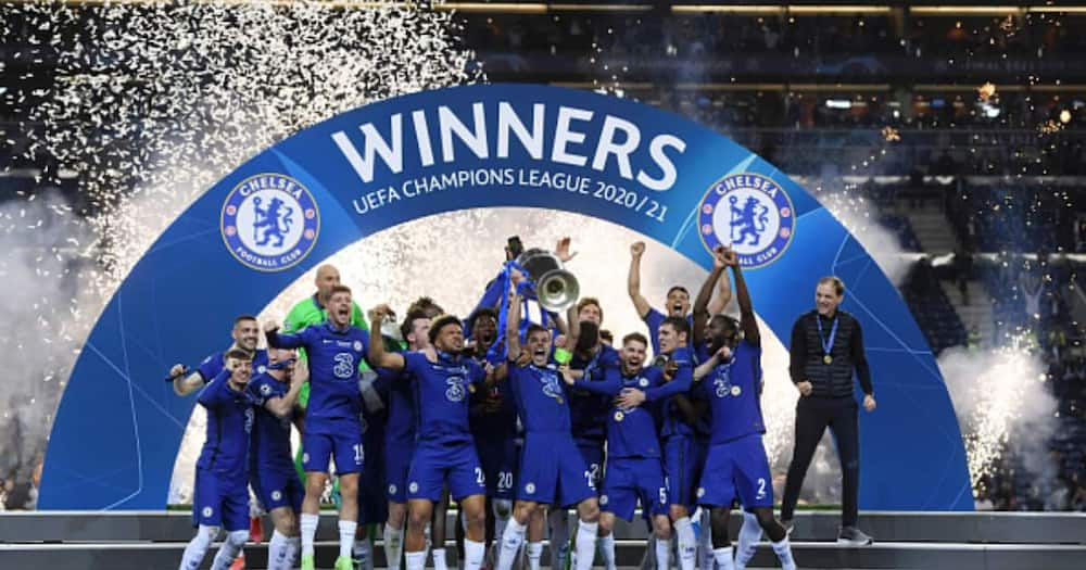 Chelsea players celebrating after winning the 2020/21 Champions League title. Photo: Getty Images.
