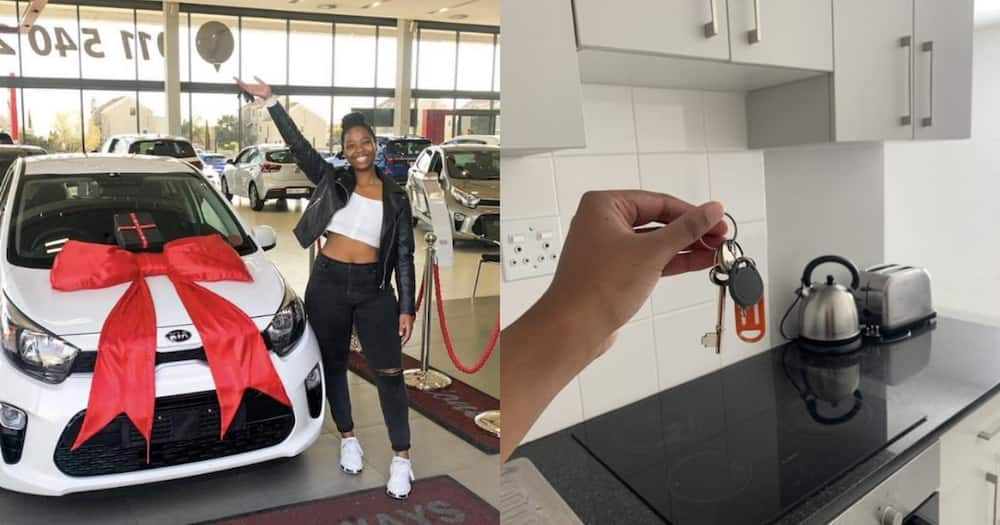 """""""God Is Good"""": Lady Celebrates Getting Car and Home in the Same Year"""