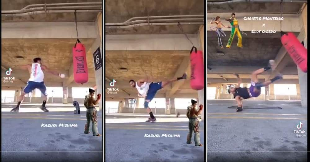 Tik Tok users react to a man imitating fight moves from popular video games. Image: Twitter
