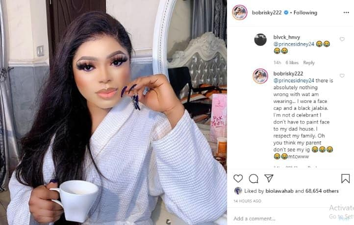 Bobrisky finally gives reason for dressing like a man to his father's birthday (screenshot)
