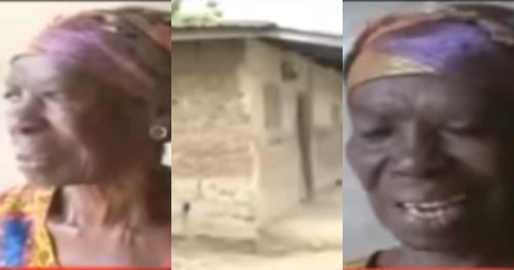 Akua Boahemaa: 80-year-old widow abandoned by her kids begs for help to move from leaking mudhouse