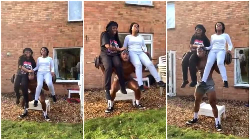 Young man carries up his 2 sisters on top very heavy weight, they dance on his shoulder, video goes viral