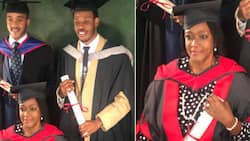 Many impressed as mum with her 2 sons all graduate from university on the same day