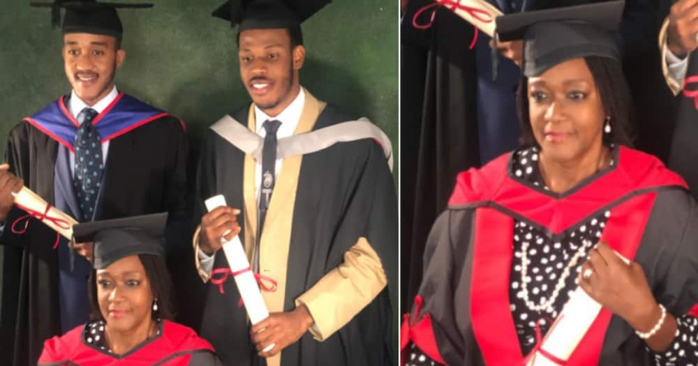 Mum Along with her two sons bags Masters Degree and Graduates on the same day