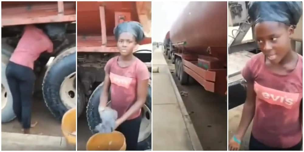 18-year-old Nigerian female student who washes tankers as hustle speaks in viral video