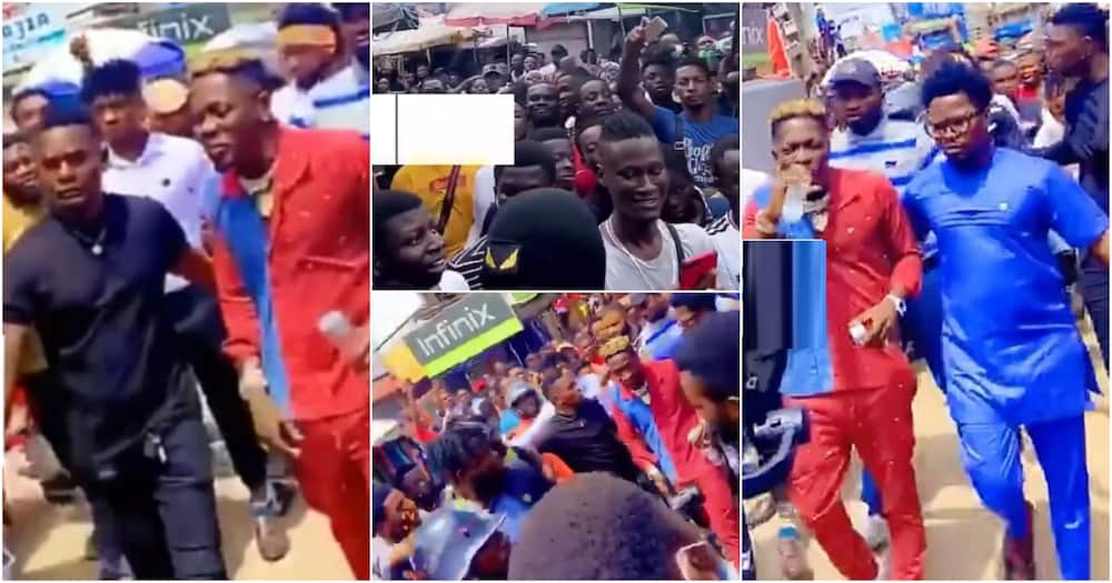 Shatta Wale mobbed by fans at Tip Toe Lane (video)