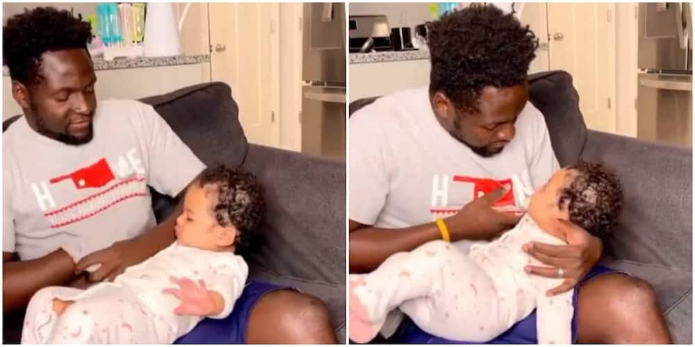 Reactions as man 'breastfeeds' baby by boring hole in his shirt, video goes viral