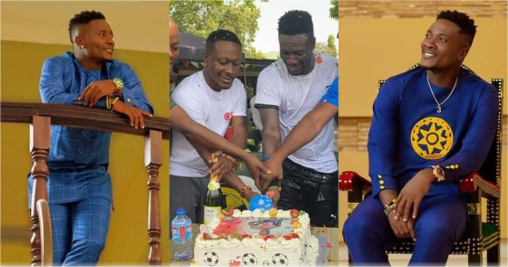 Asamoah Gyan chills as he cuts huge cake to celebrate 35th b'day (Video, photos)