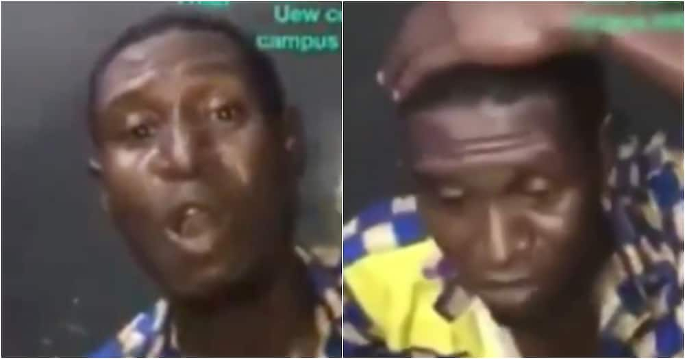 Funny video of thief forced to sing after he was caught stealing at Winneba University pops up