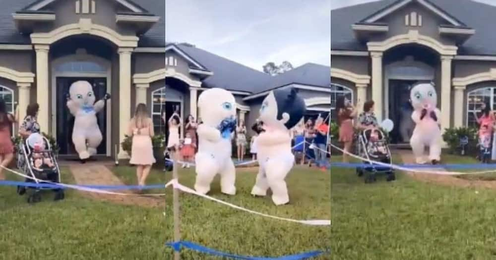 Video of gender reveal party with giant babies goes viral