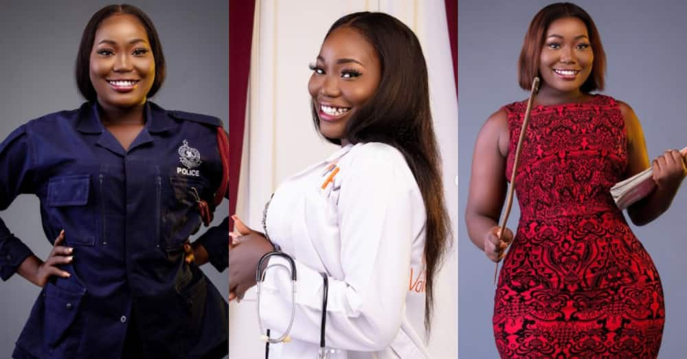 Stunning Ghanaian model poses in 8 different professions; massive reactions pour
