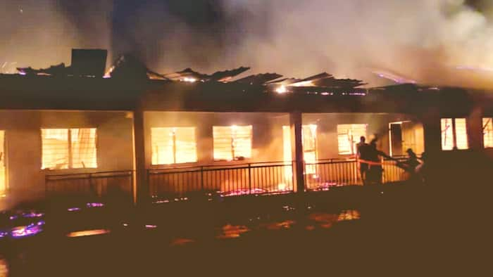 Nhyinahin SHS Form 3's reportedly set school ablaze after writing last WASSCE paper