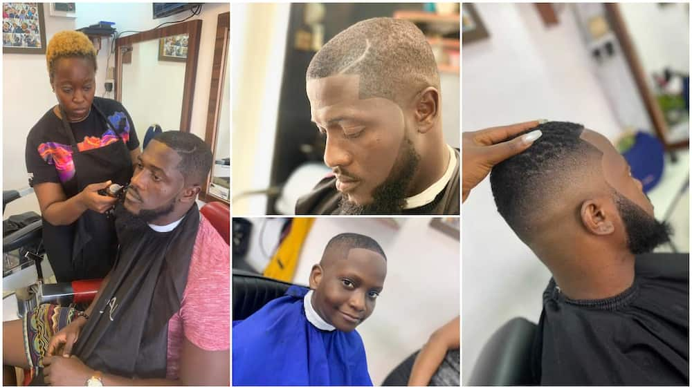 Nigerian female barber gives cool haircuts to clients in Lagos, her amazing skill breaks the internet