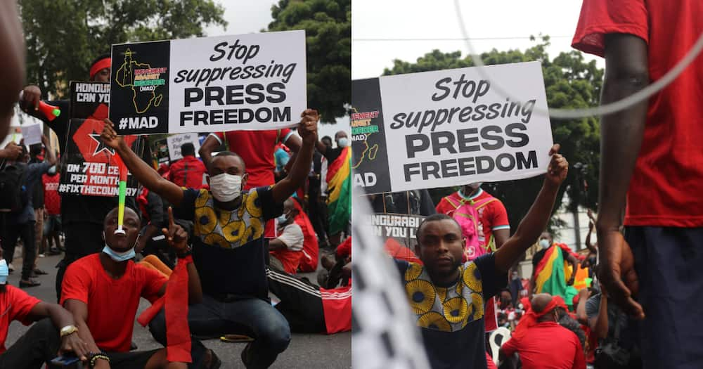 Joy FM's Gary Al-Smith fights for press freedom at #FixTheCountry demo; photos drop