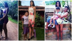 Brazil's tallest woman weds man 1 foot shorter; carries him & son in cute photo