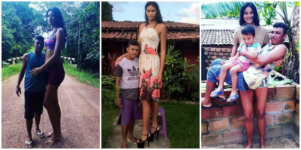Pretty 26-Year-Old 'Brazil Tallest Woman' Weds Man Who is a Foot Shorter, Carries Hubby and Son in Cute Photo