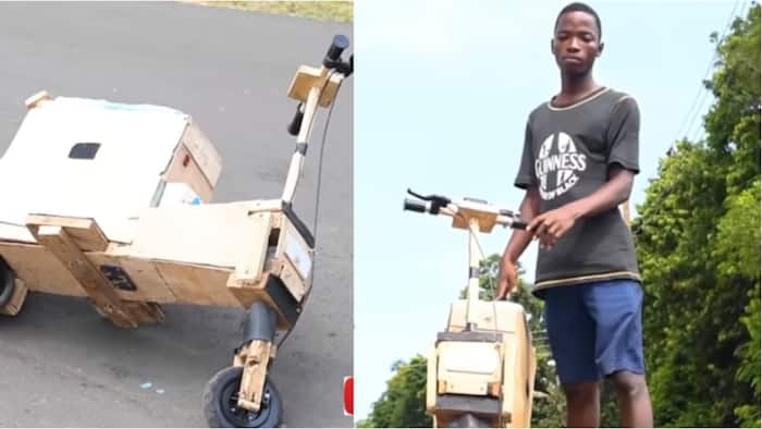 Ghanaian teenager builds solar-powered electric bike from wood with radio and plays music; video emerges