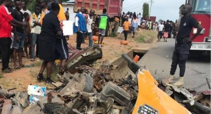 Four people crashed to death by tipper truck in Nsawam; driver on the run