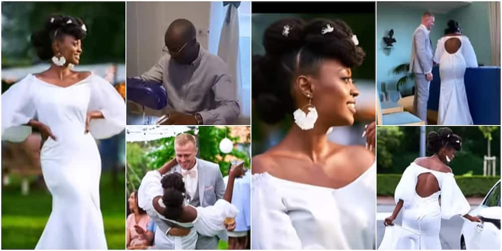 The beautiful bride's wedding gown was sewn by her father