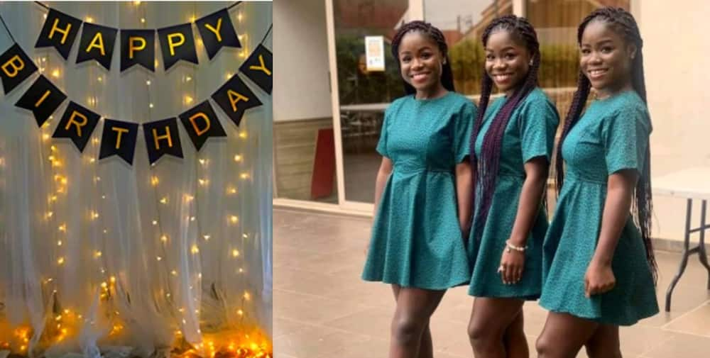 Young Ghanaian Female Triplets in Kumasi make many fall in love as they celebrate their birthday