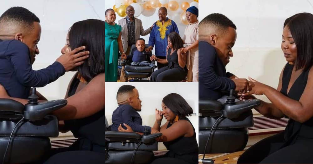True love: Petite man proposes to his tall and curvy girlfriend, beautiful photos pop up