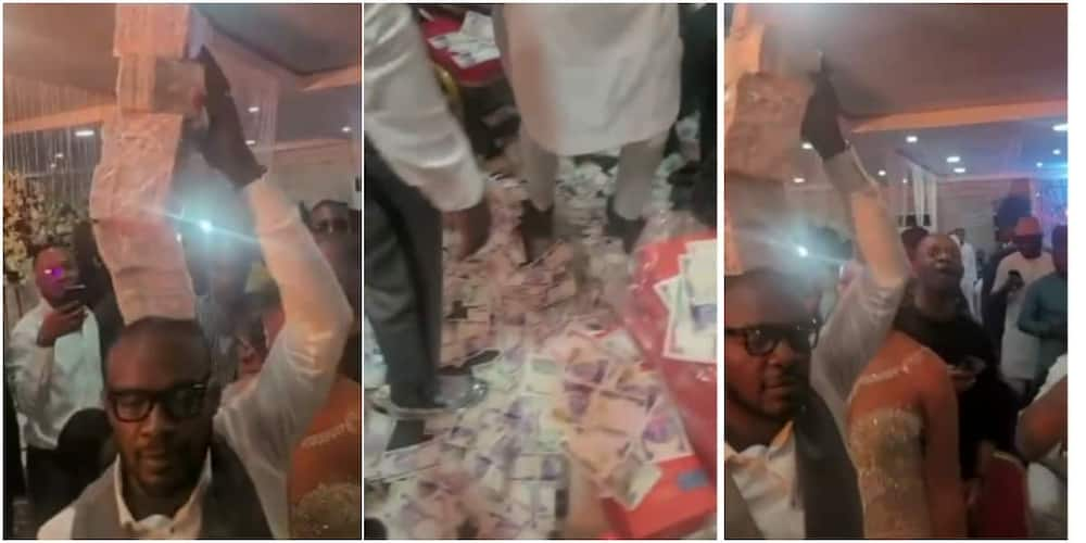 Money rained heavily on stage at a Nigerian party